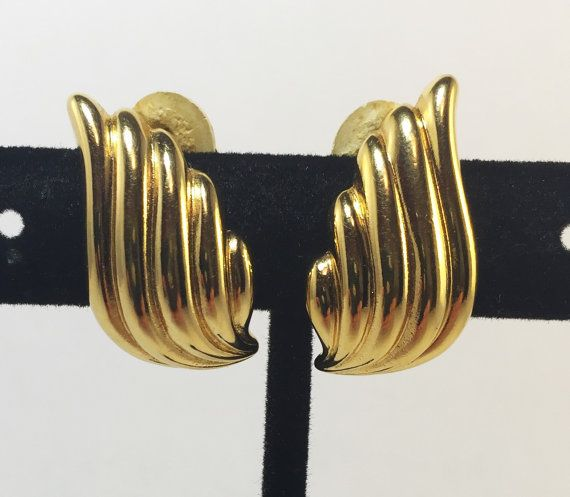 Vintage Signed Gold Nina Ricci Designer Wing Earrings 1970s Costume Jewelry