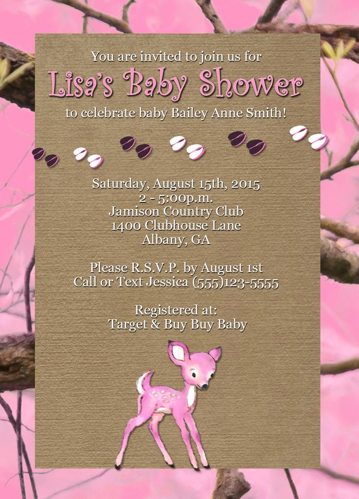 free printable camo baby shower invitations templates%0A Fawn  u     Camo Baby Shower Invitations