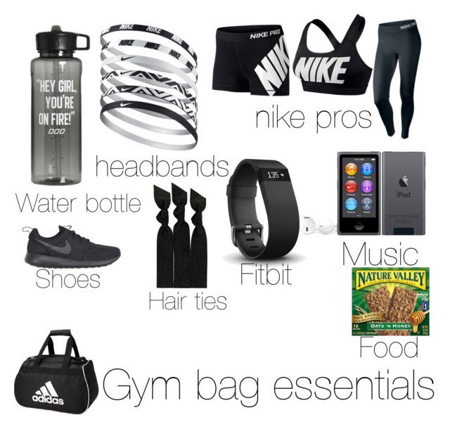 """Gym bag essentials"" by vsbaker ❤ liked on Polyvore featuring adidas, NIKE, Fitbit and Emi-Jay"