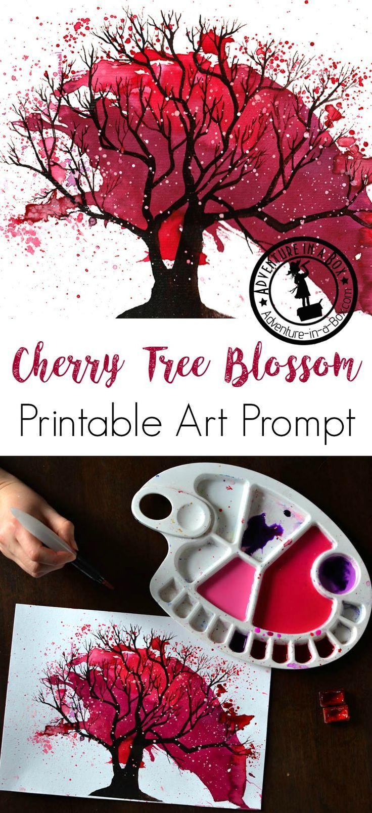 cherry tree blossom splatter art with printable prompt - Printable Art For Kids