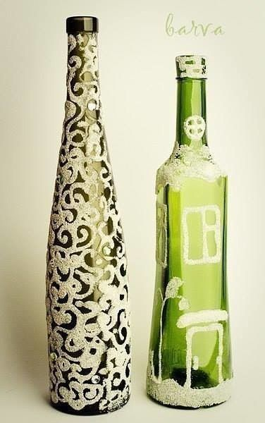 Декор бутылок манной крупой