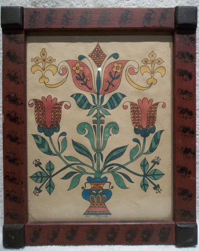 Pennsylvania Folk Art Heart & Tulip Fraktur by H.French