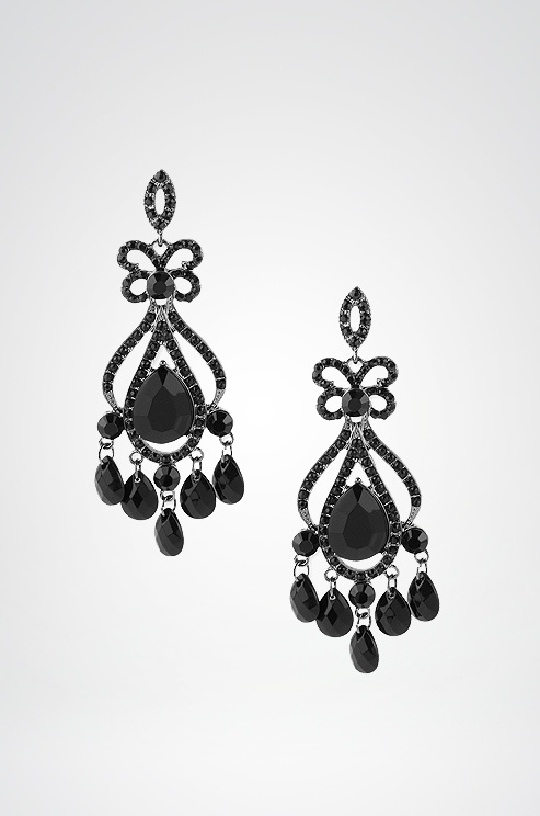 Black beaded chandelier earrings, by Haskell. Buy them here! $25.50