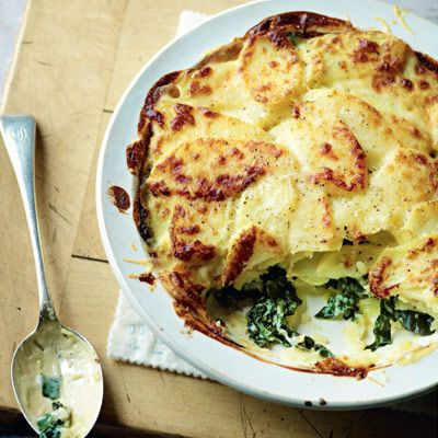Cavolo Nero / Kale / Spinach and potato bake with gruyère sauce http://www.waitrose.com/content/waitrose/en/home/recipes/recipe_directory/c/cavolo_nero_and_potato_bake_with_gruyere_sauce.html