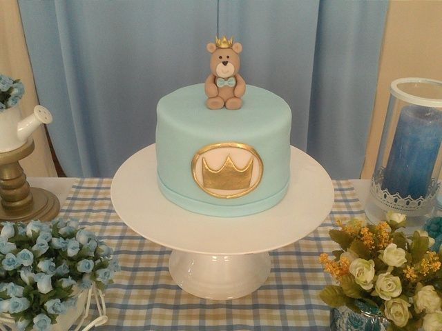 Adorable teddy bear prince birthday cake! See more party ideas at CatchMyParty.com!