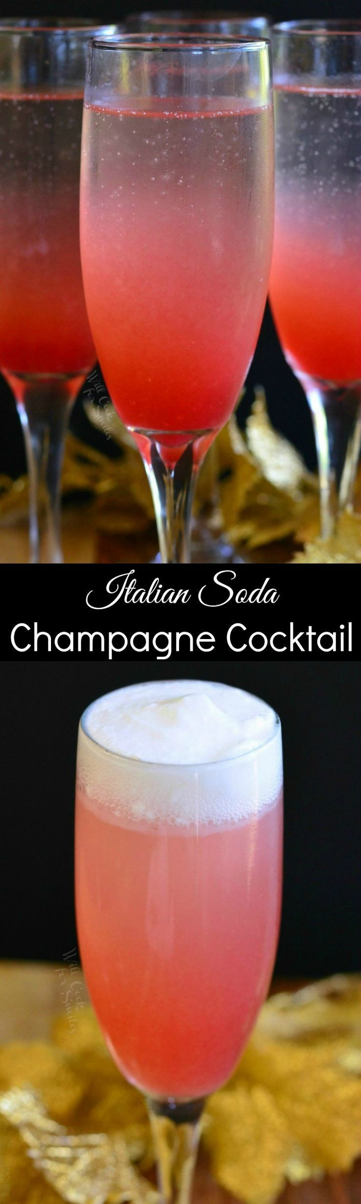 Raspberry Italian Soda Champagne Cocktail. This aromatic cocktail is made with homemade raspberry vanilla syrup, champagne and an option to make it creamy.