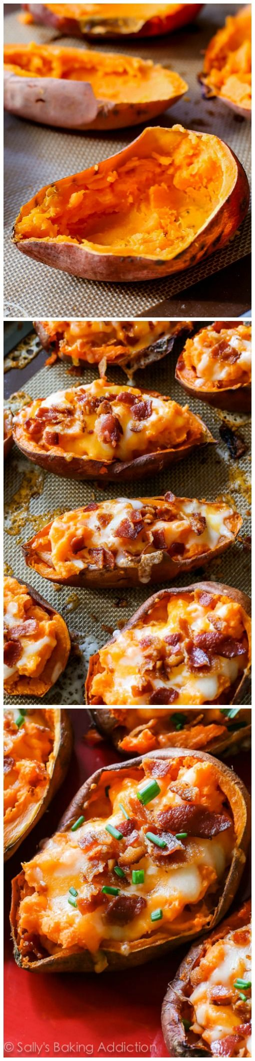 Enjoy a big plate of extra crispy, extra loaded sweet potato skins in no time! This game-time favorite is hard to resist and would be perfect with a scoop of Whole Milk Plain Chobani Greek Yogurt.