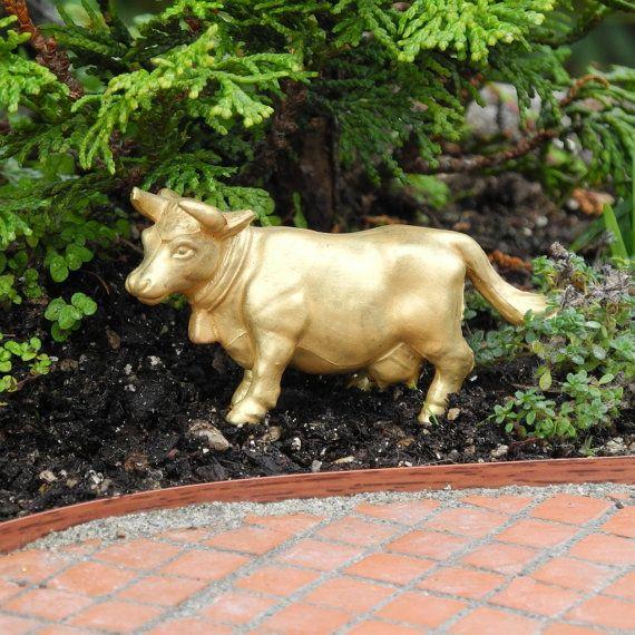 Miniature Garden Art Gold Bull for Miniature Garden, Terrarium, Fairy Gardening, Garden Bling