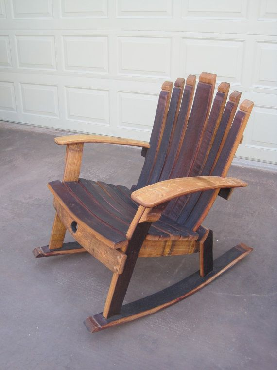 Rocking chair wine barrel chair chaises bascule for Salon de jardin en tonneau