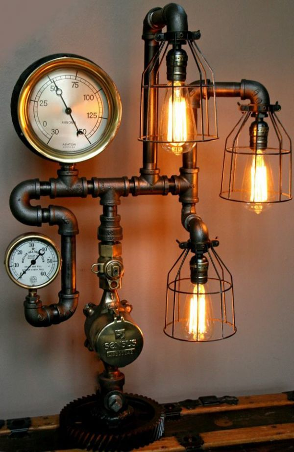 Machine Age Lamps | Handmade Steampunk lamps made from antique salvaged steam gauges and machine age parts.
