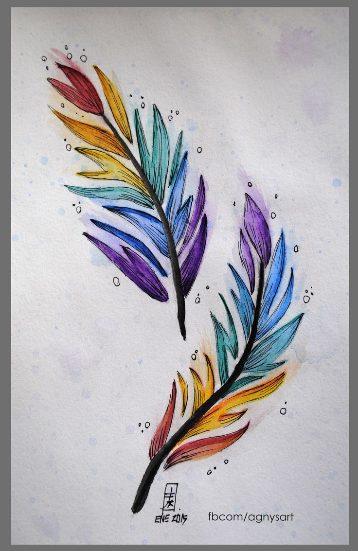"""Colorful Feathers"" #Nature #Feathers #Wings #Color #Watercolor"