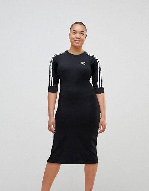 396362d32d23 Adidas Originals black three stripe midi dress