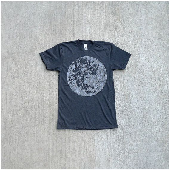 Mens tshirt - full moon screenprint on heather black - t shirt men - gift for him / fathers day - My Moon, My Man by Blackbird Tees