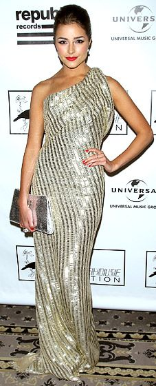 Olivia Culpo - Miss Universe in a one-shouldered gold sequined gown