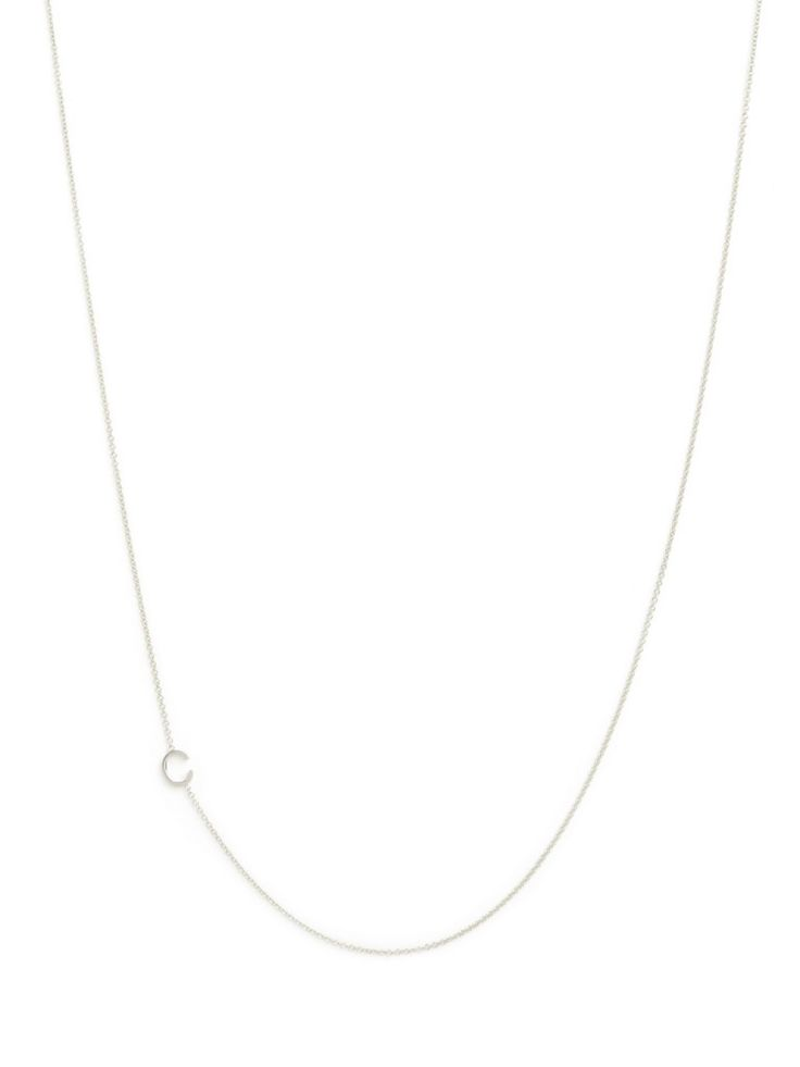 maya brenner asymmetrical mini letter necklace in white gold available at baublebar