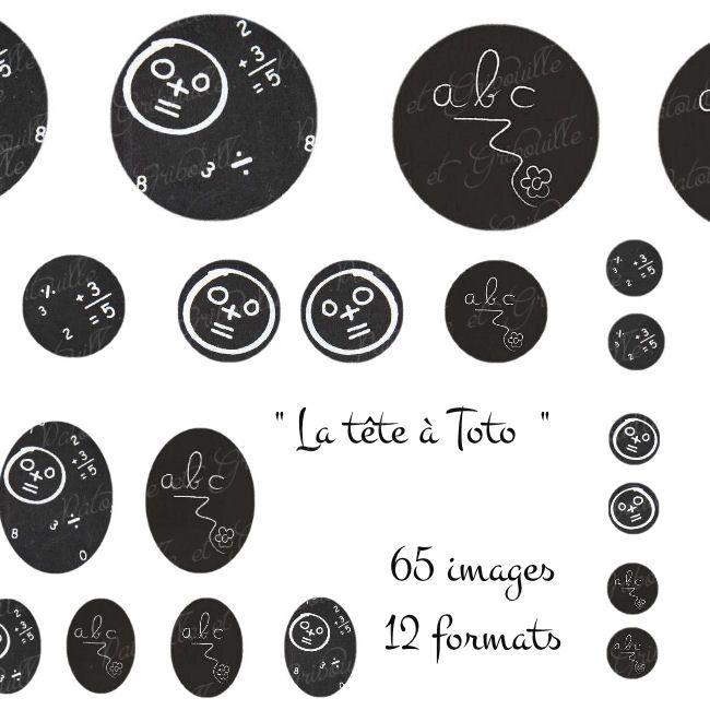 """65 images digitales pour cabochon thème rentrée scolaire """" la tête à Toto """" : Images digitales pour bijoux par patouille-et-gribouille"""