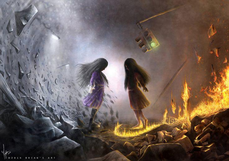 "Brian Ezekiel, Malaysia - ""Alessa Gillespie vs Alma Wade (repainted work)"" http://tr0phykill.deviantart.com/"