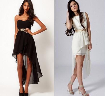 Платье короткое спереди длинное сзади черное