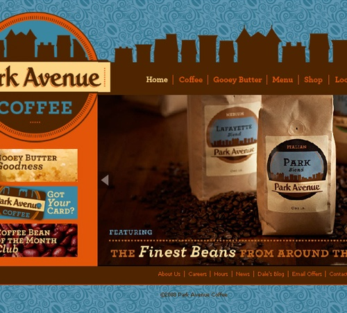Love this.. the color scheme and pattern in the background! Park Avenue Coffee Website