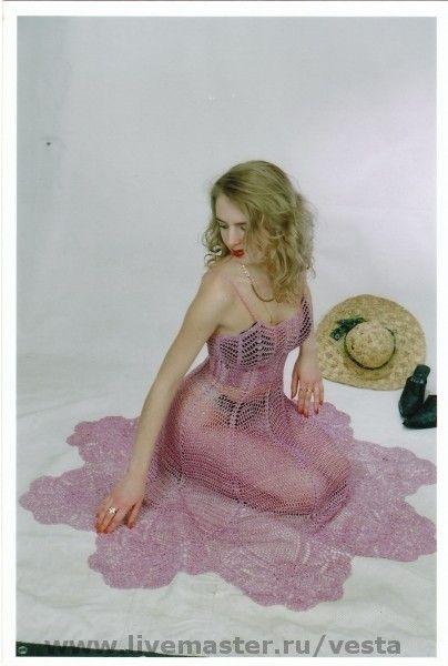 """Розовый сарафан """"Венера"""" - розовый,сарафан,крючком,нарядный,вечерний,авторская работа"""