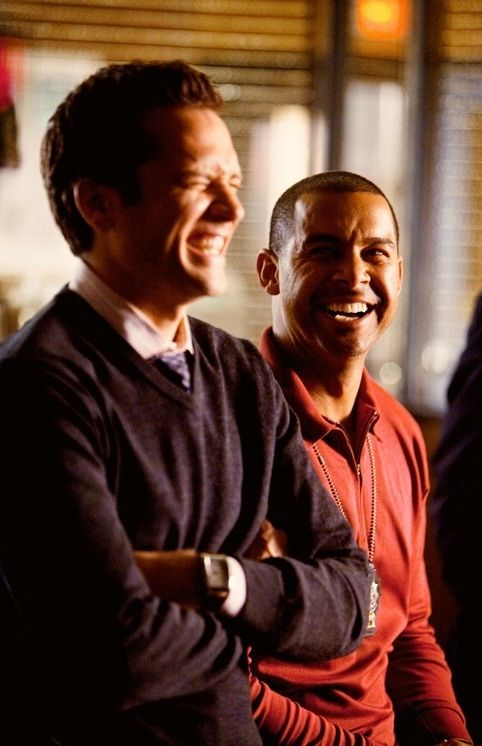 Seamus Dever and Jon Huertas on the set of Castle. // Espo and Ryan.