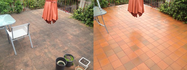 BEFORE- Ceramic tiles in need of  Go Cleaning´s professional touch. AFTER- Just another perfect result!