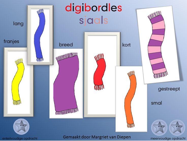 Digibordles: Sjaals  Lesdoel:  1. Objecten kunnen vergelijken en ordenen naar lengte en breedte.  2. Kunnen sorteren van voorwerpen op minimaal twee kenmerken  Doe dit eerst met echte sjaals, geleend van de kinderen, daarna kun je deze les doen. Meer tips zie de les