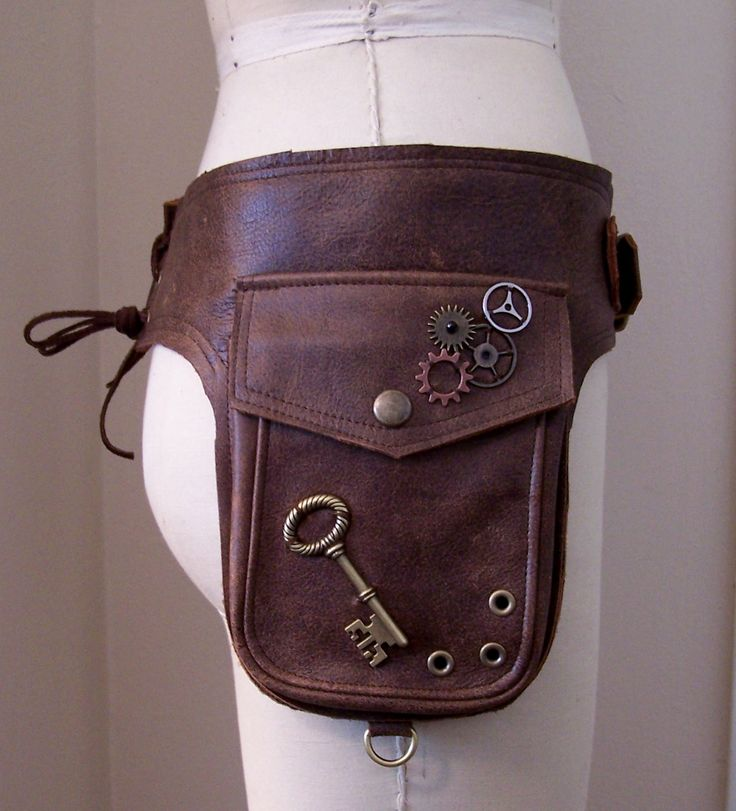 Darkwear Brown Unisex Steampunk Double Hip Bag Holster Utility Belt w Brass Hardware made to order. $175.00, via Etsy.