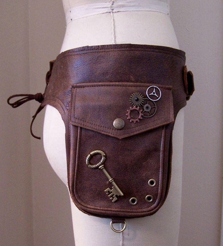 Darkwear Brown Unisex Steampunk Double Hip Bag Holster Utility Belt w Brass Hardware made to order. $175.00, via Etsy.