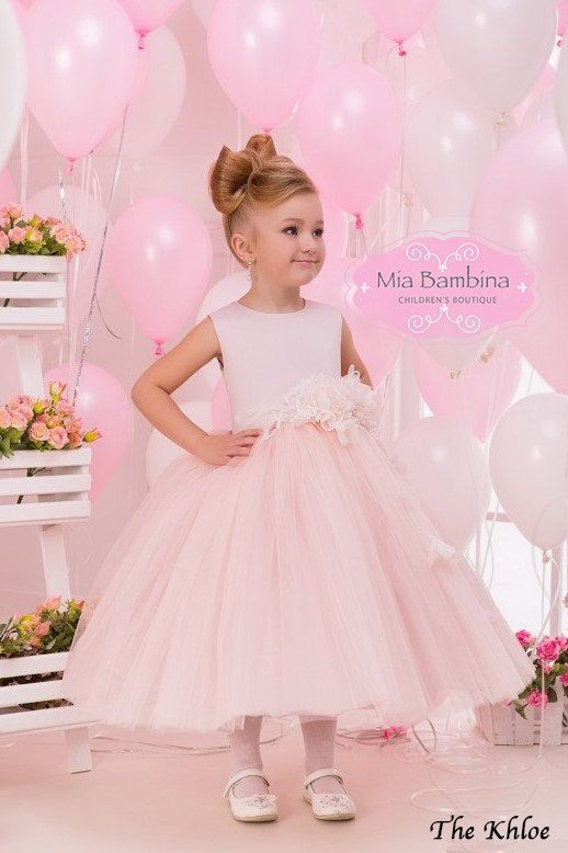Blush Flower Girl Dress Tulle flower girl by MiaBambinaBoutique