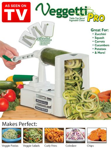Discover healthy and deliciously easy ways to prepare vegetables with Veggetti Pro Table-Top Spiral Vegetable Cutter, As Seen on TV. This easy-to-use slicer comes with three stainless steel blades, perfect for making veggie pastas, salads, coleslaws, curly fries and more.