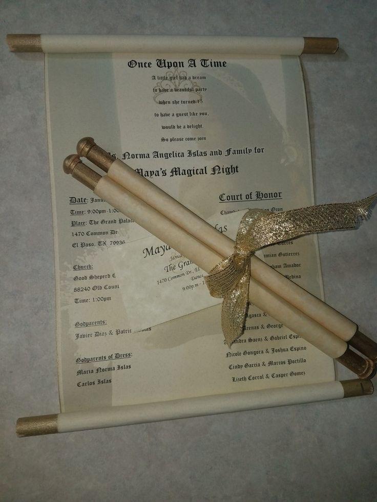 cinderellthemed wedding scroll invitations%0A DIY scroll invitations