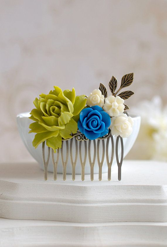 Green and Blue Wedding Bridal Hair Comb, Green Blue Ivory Rose Flowers Antique Brass Leaf Branch Hair Comb, Bridesmaids Hair Accessory