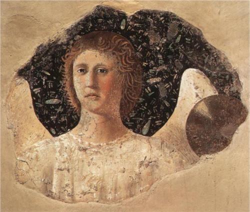 Head Of An Angel - Piero della Francesca fresco The Legend of the True Cross