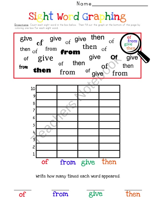 free Words word sight printable  graphing Sight