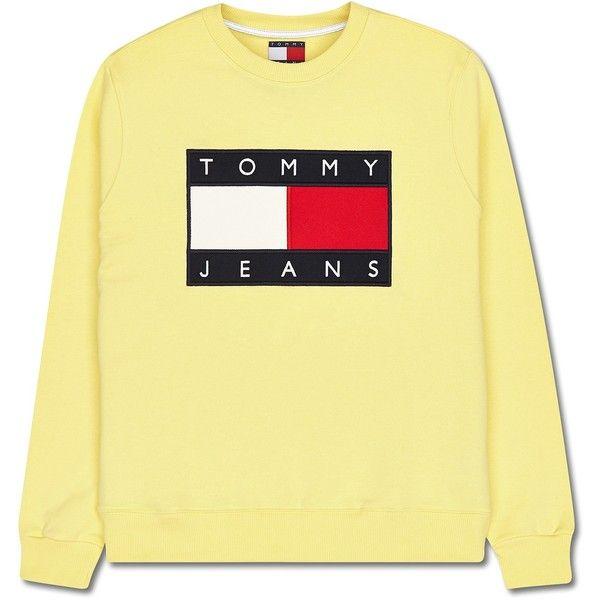 Tommy Hilfiger 90s Sweatshirt ❤ liked on Polyvore featuring tops, hoodies, sweatshirts, summer sweatshirts, summer tops, yellow top and yellow sweatshirt