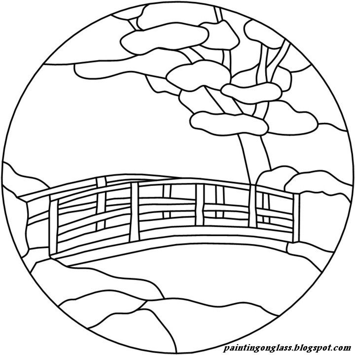 Stained Glass Patterns | Stained Glass Japanese Bridge Pattern ~ painting on glass