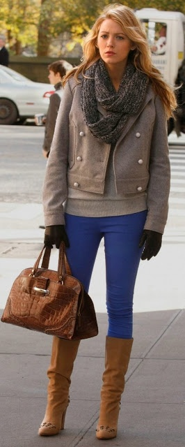 The Lady Vanished   Serena van der Woodsen style → The cobalt blue pants makes the outfit pop!