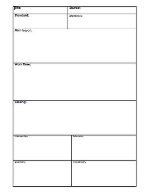 Awesome lesson plan template that can be used for any grade level and any subject!