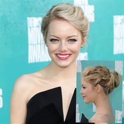 Like Emma Stone's twisted #updo? Celebrity Hairstylist Mara Roszak gave Emma this updo using Clairol Professional, Sebastian Professional and Wella Professionals for the 2012 MTV Movie Awards. Here's her quick and easy how-to!