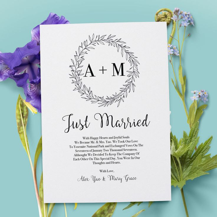 Wedding Elopement Ideas: Simple And Classy Elopement Announcement Card That You Can