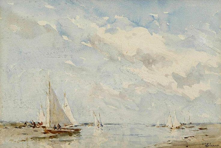 Arthur Gerald Ackermann (1876 - 1960, UK)   Sailing at Blakeney. watercolour. 24 х 35.5 cm. (QVs х 14 in.)