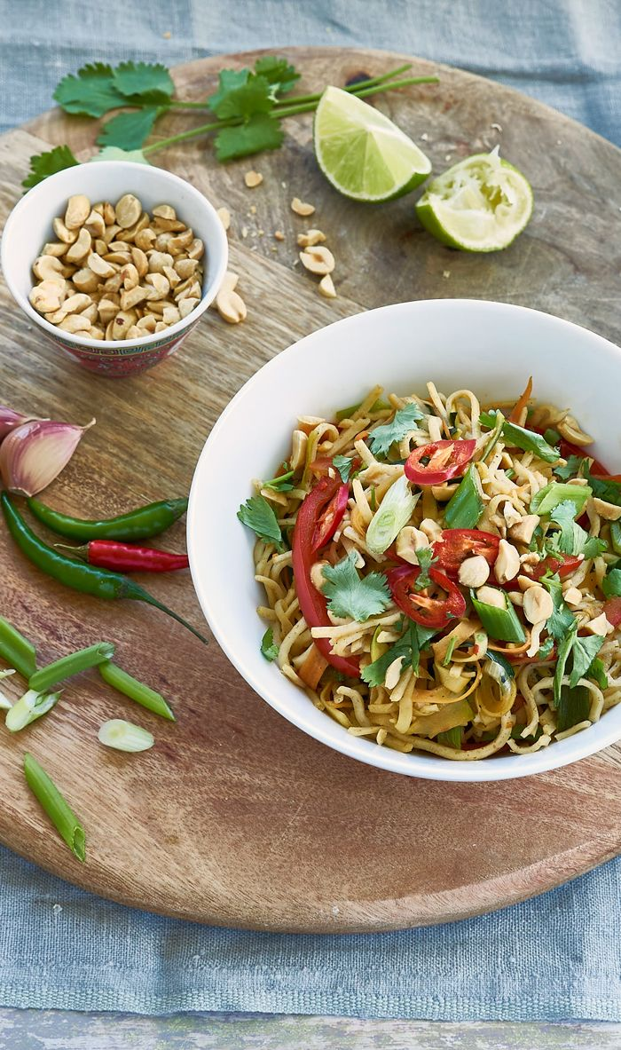 Whip up a bowl of veggie, noodley goodness with lime, peanuts and chilli sauce. From Eat Well for Less.