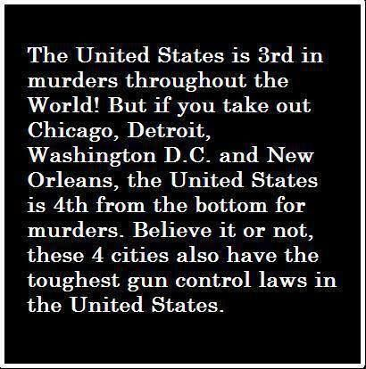 4 U.S. cities with toughest gun control have the highest murder rate.  It's not about guns, it's about control.