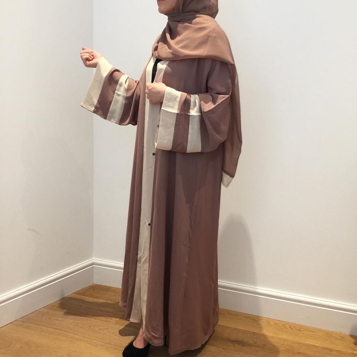 "53 Likes, 1 Comments - HUSNA- Modesty at its finest (@husna_collections) on Instagram: ""New Arrival has been added to our Open Abayas  A beautiful Beige Abaya with cream detailing on the…"""