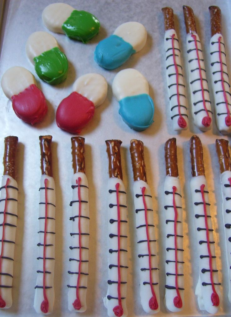 Medical Party Theme Thermometer Pretzel Rods and Nutter Butters to look like Medicine