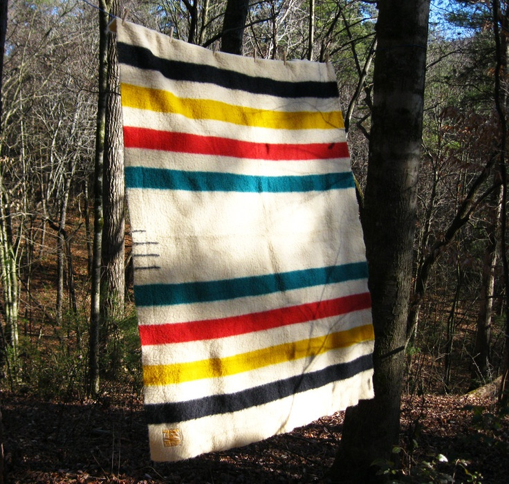 Vintage Hudson Bay Trapper Point Wool Blanket - Beautiful and Warm. $175.00, via Etsy.