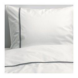 IKEA - HÄXÖRT, Duvet cover and pillowcase(s), Full/Queen (Double/Queen), , Feels crisp and cool against your skin as it's made of cotton percale, densely woven from fine yarn.Extra soft and durable quality since the bedlinen is densely woven from fine yarn.The decorative embroidery gives the duvet cover and pillowcase a vivid and soft structure.Decorative buttons keep the comforter in place.