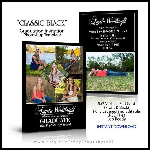 2020 Senior Invitation 5x7 Flat Card Photoshop Template Etsy Senior Invitations Invitations Flat Cards