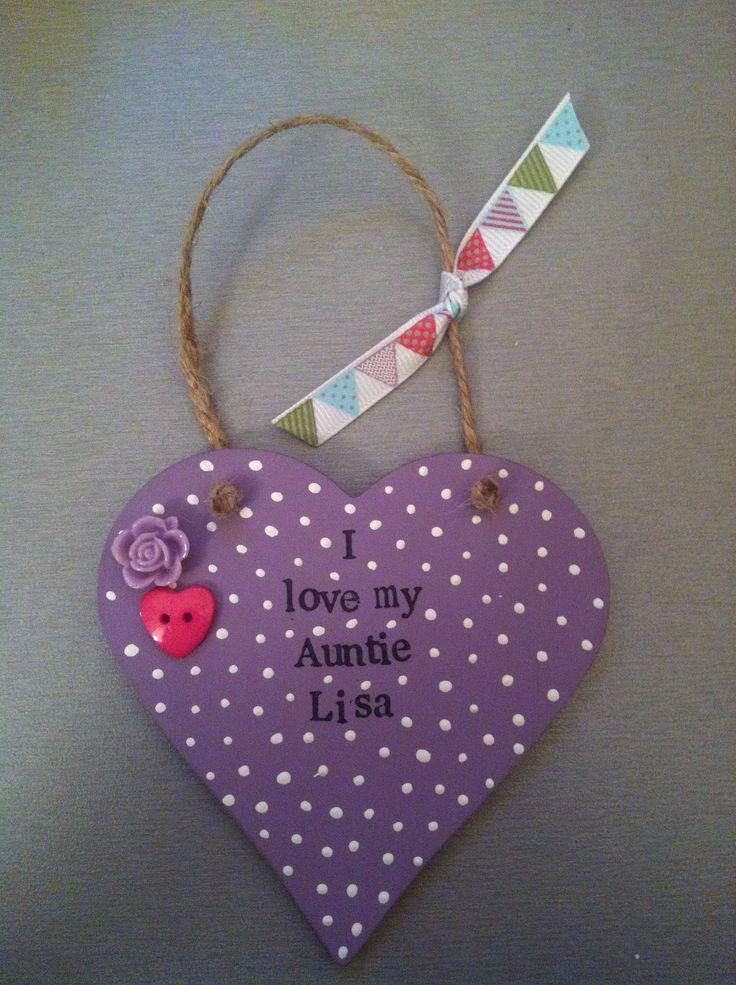 Auntie gift, purple, wooden heart, hanging heart, polka dots.